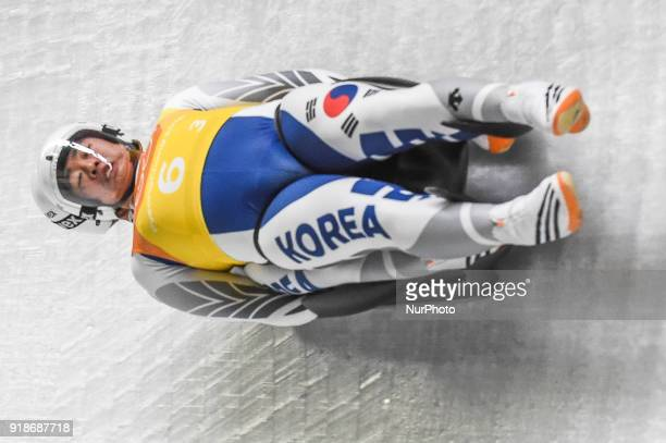 Cho Jung Myung and Park Jinyong of South Korea competing in luge Team Relay Competition at Olympic Sliding Centre at Pyeongchang South Korea on...