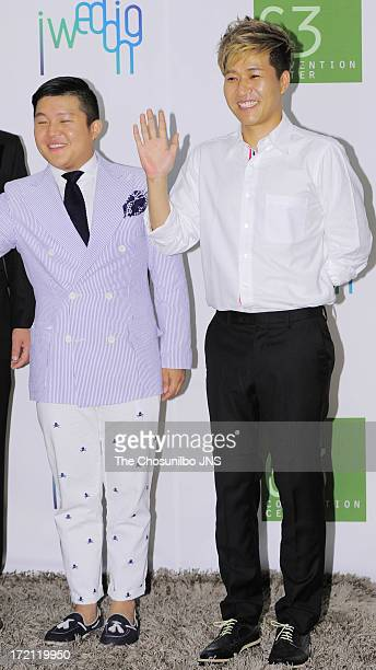 Cho SaeHo and Kim JongMin attend Jang YoonJung and Do KyungWan Wedding at 63 building convention center on June 28 2013 in Seoul South Korea