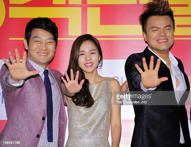 Cho Seong-Ha, Min Hyo-Rin, and Park Jin-Young attend the 'A Millionaire On The Run' VIP screening at Wangsimni CGV on July 11, 2012 in Seoul, South...