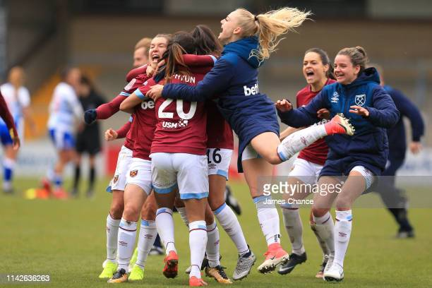 Cho SoHyun of West Ham Ladies celebrates with her team mates after scoring the winning penalty in the penalty shoot during the Women's FA Cup Semi...