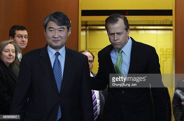 Cho Taeyong South Korea's top negotiator on North Korean nuclear issues and US Special Representative for North Korea Affairs Glyn Davies leave after...