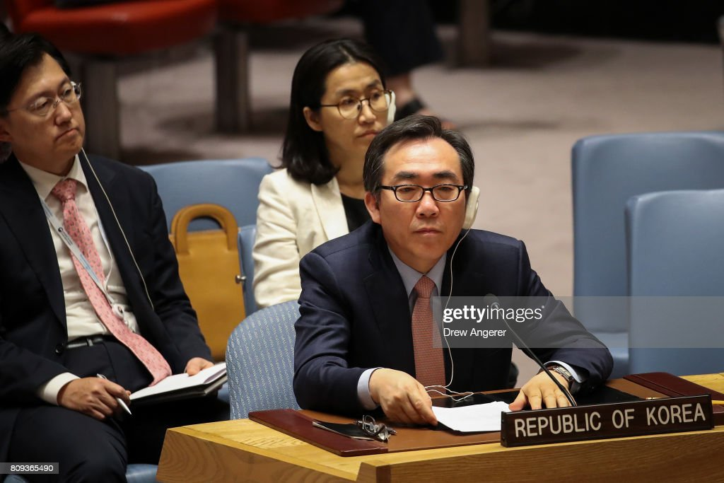 Cho Tae-yul, South Korean ambassador to the United Nations, listens during an emergency meeting of the U.N. Security Council at United Nations headquarters, July 5, 2017 in New York City.. The United States requested an emergency meeting of the U.N. Security Council after North Korea tested an intercontinental ballistic missile earlier this week.