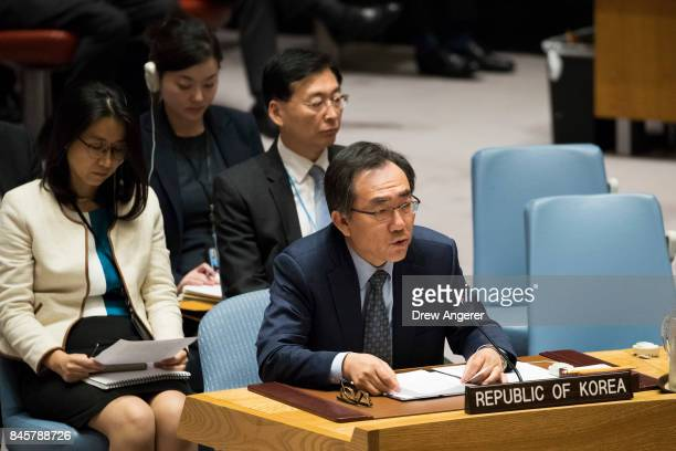 Cho Taeyul South Korean ambassador to the United Nations speaks during a meeting of the United Nations Security Council concerning North Korea at UN...