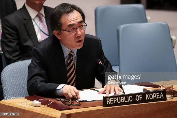 Cho Taeyul South Korean ambassador to the United Nations speaks during an emergency meeting of the United Nations Security Council concerning North...