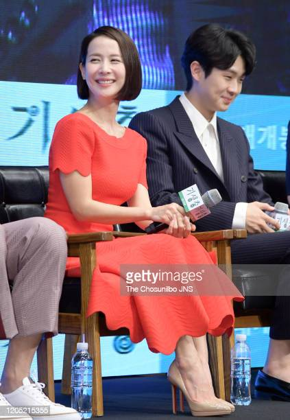 Cho YeoJeong and Choi WooSik attend premiere of Korean Movie 'Parasite' at Westin Chosun Hotel on April 22 2019 in Seoul South Korea