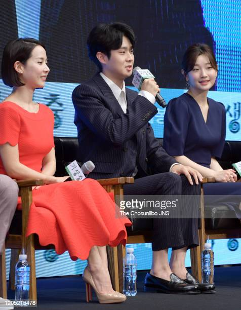 Cho YeoJeong Choi WooSik and Park So Dam attends premiere of Korean Movie 'Parasite' at Westin Chosun Hotel on April 22 2019 in Seoul South Korea