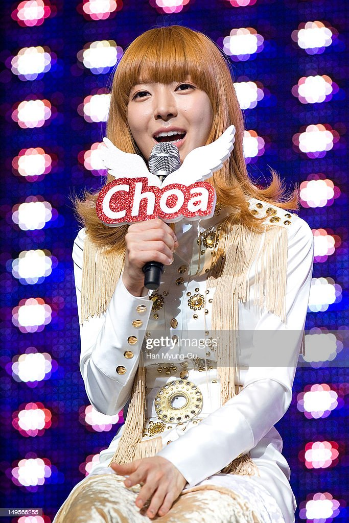 Choa of South Korean girl group AOA (Ace of Angels) speaks during after the opening of his 1st single album showcase named 'Angels' Story' on July 30, 2012 in Seoul, South Korea.