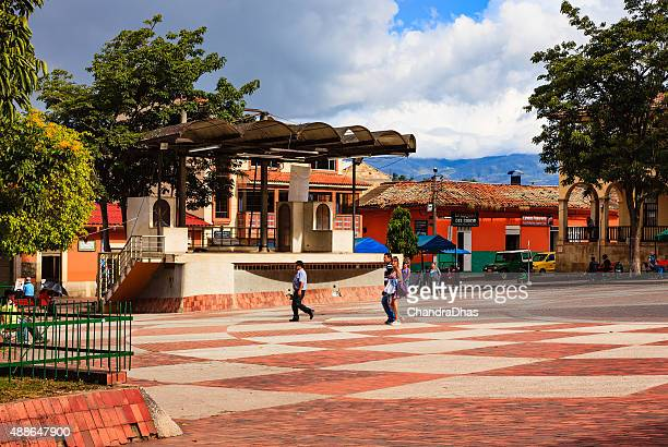 Choachí, Colombia - people on the main town square