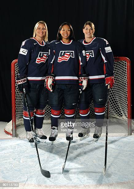Choate Rosemary Hall Graduates Angela Ruggiero Julie Chu and Hilary Knight of the US Women's National Hockey Team pose for a portrait on August 25...