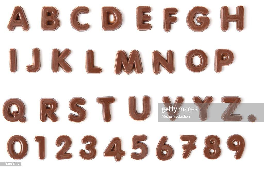 Alfabeto de Chocolate com Traçado de Recorte : Foto de stock