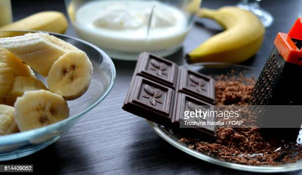 Chocolate and banana slice on table
