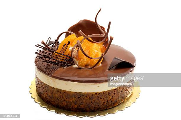 chocolate and orange cake - fruit cake stock pictures, royalty-free photos & images