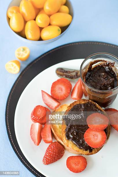 Chocolate and strawberry toast