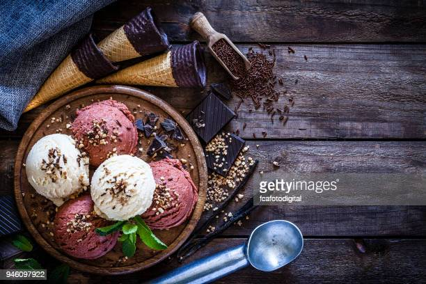chocolate and vanilla ice cream still life - artisanal food and drink stock pictures, royalty-free photos & images