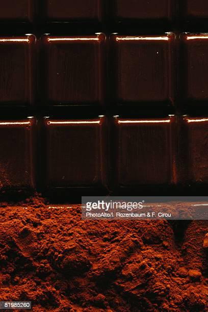 Chocolate bar and cocoa powder, close-up