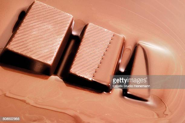 Chocolate bar dipped into melted chocolate