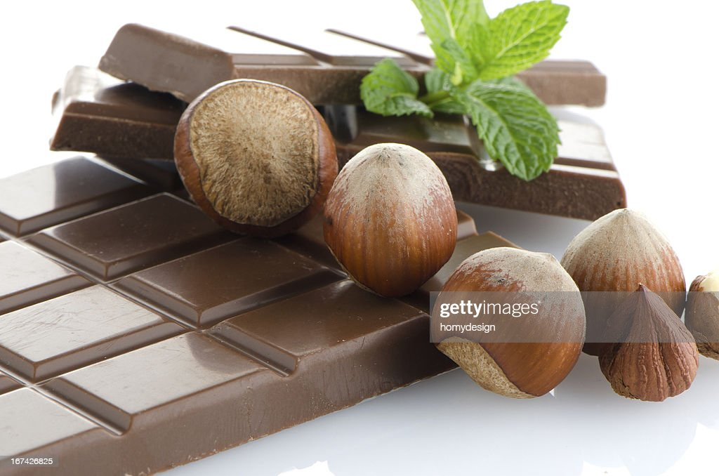 Chocolate Bar with hazelnuts : Stock Photo