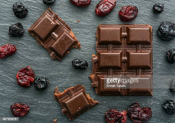 Chocolate bar with raisin and blueberry
