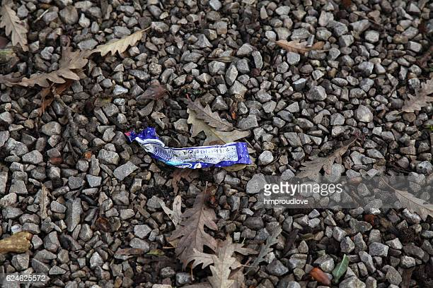 chocolate bar wrapper - candy wrapper stock photos and pictures