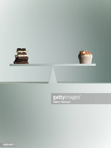 Chocolate bars and Cupcake balanced on seesaw