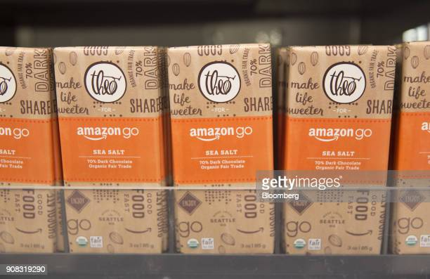 Chocolate bars are displayed for sale at the Amazon Go store in Seattle Washington US on Wednesday Jan 17 2018 After more than a year of testing with...