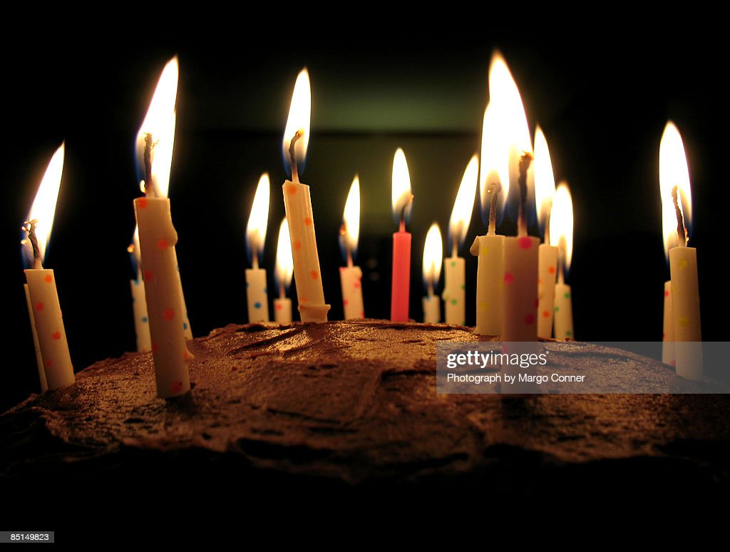 Chocolate Birthday Cake Replete With 18 Candles Stock Photo