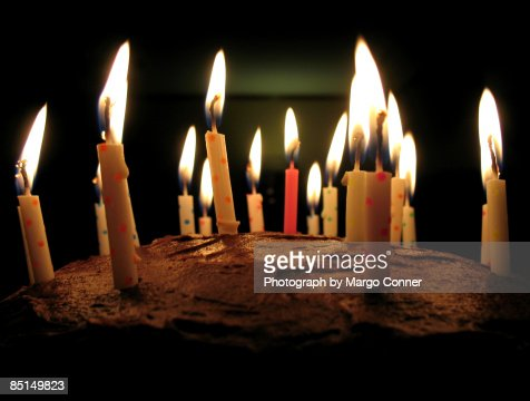 Chocolate Birthday Cake Replete With 18 Candles High-Res ...
