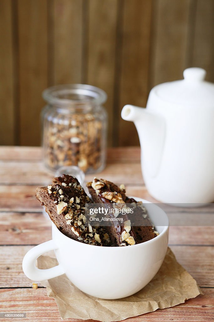 chocolate biscotti for tea : Stock Photo