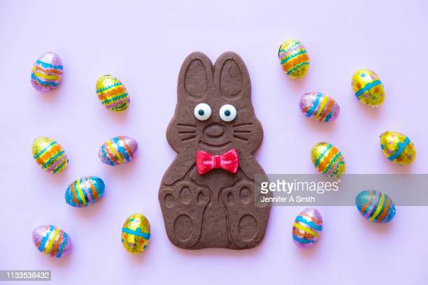 chocolate biscuit easter bunny - easter candy stock pictures, royalty-free photos & images