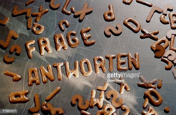 Chocolate biscuits used to spell ?question? and ?answer? in German