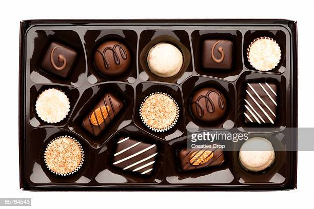 Chocolate box full of assorted chocolates