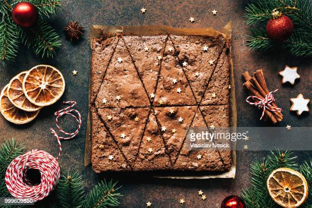 Chocolate brownies and Christmas decorations