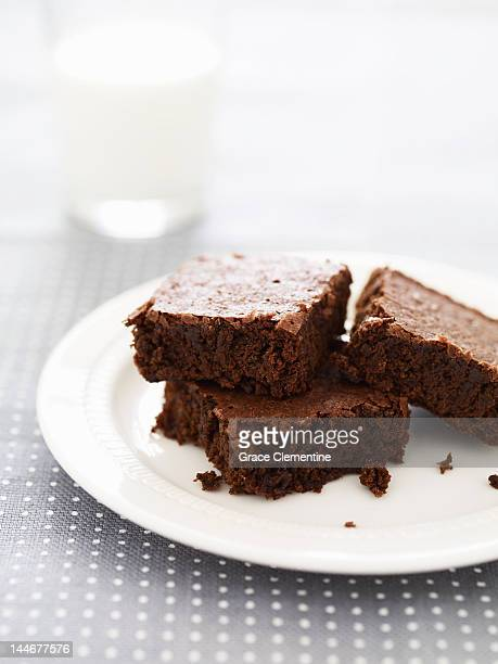 Chocolate brownies on plate close up
