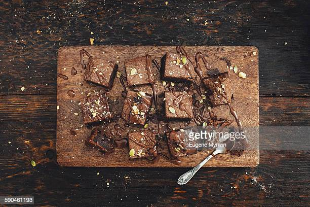 chocolate brownies - chocolate cake above stock pictures, royalty-free photos & images