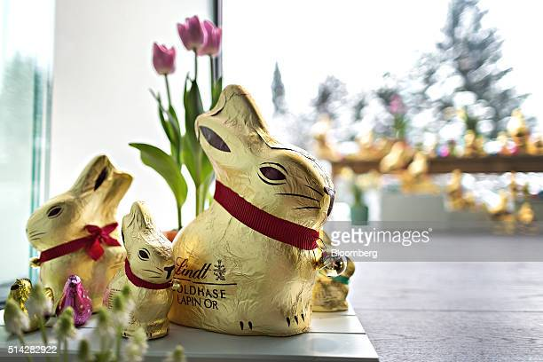 Chocolate bunnies produced by Lindt Spruengli AG sit on display during a news conference to announce the company's full year results in Zurich...