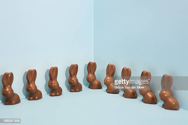 chocolate bunnies standing in a line.