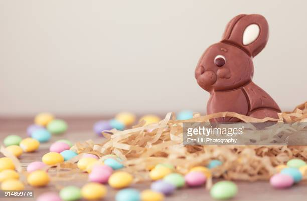 chocolate bunny - easter candy stock pictures, royalty-free photos & images