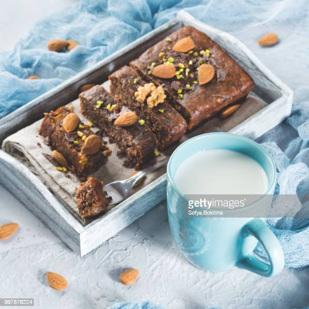 Chocolate cake for cozy breakfast with milk. Square