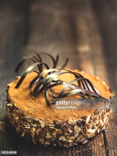 Chocolate cake on a wooden rustic table.