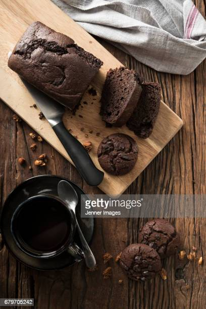 Chocolate Cake On Kitchen Table.