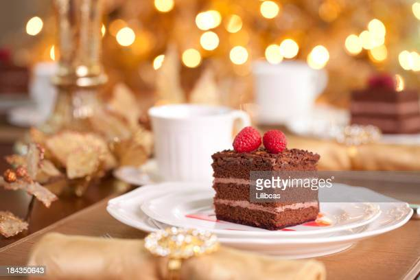 chocolate cake - christmas cake stock photos and pictures