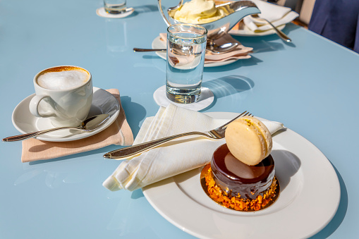 Chocolate Cake with a Macaroon and Coffee - gettyimageskorea