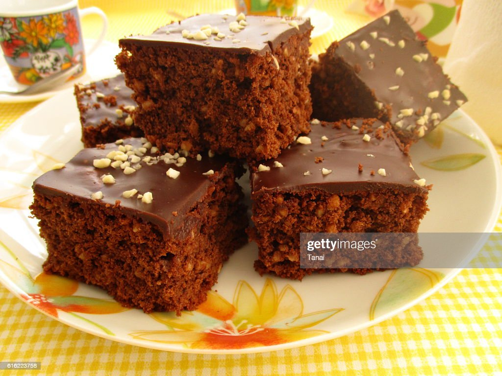 Chocolate cake with almonds : Stock Photo
