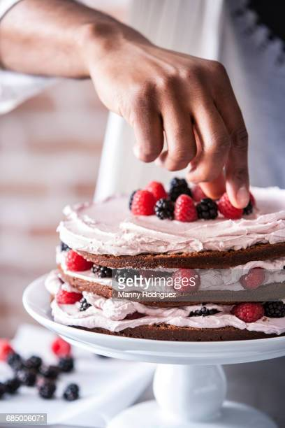 chocolate cake with berries and cream filling - dessert stock-fotos und bilder
