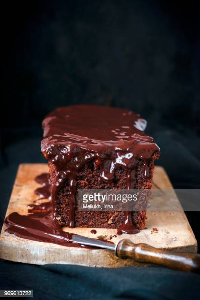 Chocolate cake with cranberry jam and chocolate glaze