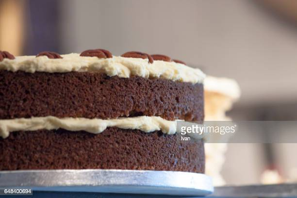 Chocolate Cake with Fresh Cafe Bean and White Cream