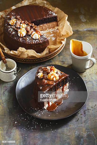 Chocolate cake with nougat and caramel