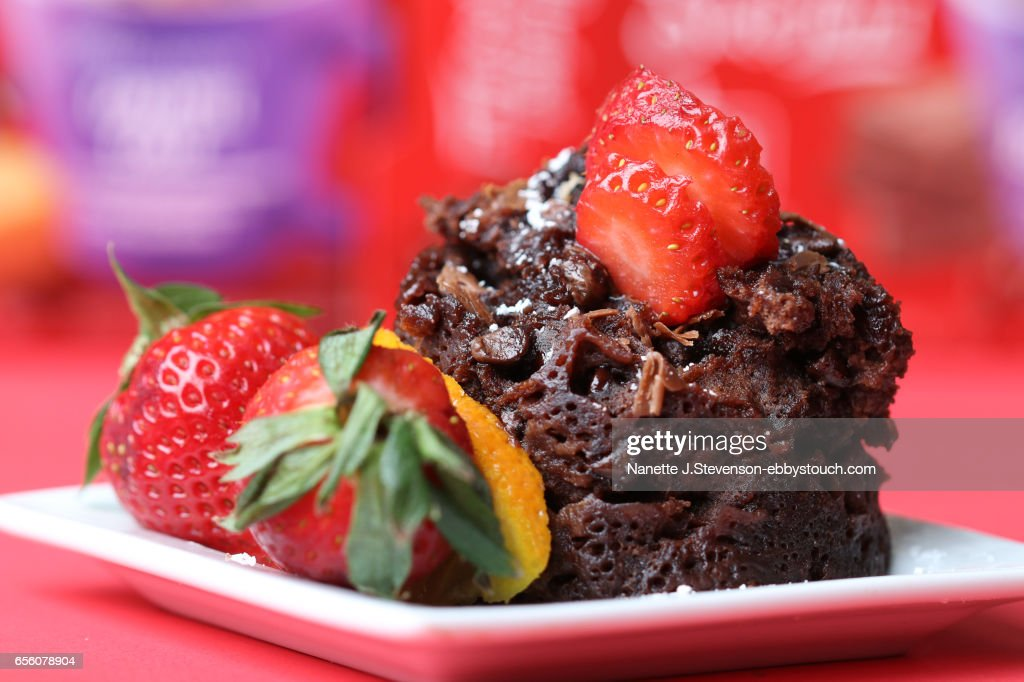 Chocolate Cake with Strawberries and Orange : Stock Photo