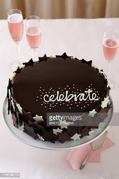 Chocolate cake with word 'celebrate