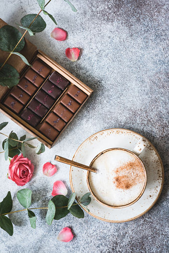 Chocolate candies, coffee and roses - gettyimageskorea